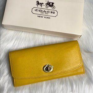 Coach Yellow Legacy Slim Envelope Wallet